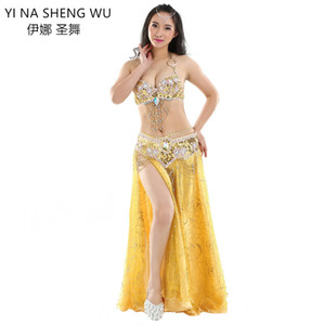 Adult Lady women Belly Dance Costume Set Bellydance Performance Clothing 3-pieces Set Belly Dance Sequin Bra Belt Rose Skirt