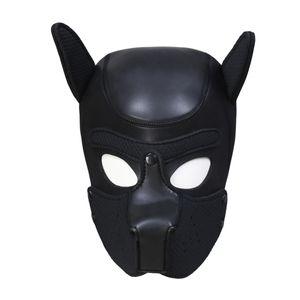 Nuevo diseño Bondage Gear Dog Hood Negro Red Puppy Máscara Bozal para Juego Sexual Traje Erótico BDSM Cabeza Arnés Removible Boca Pad