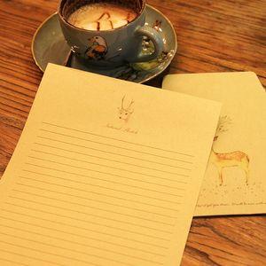 5 Unids Sika deer Craft Sobres de papel Vintage Retro en blanco Mini sobres de papel Invitación de fiesta de boda Tarjetas de felicitación Regalo 11 * 16