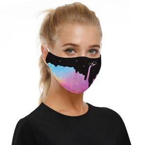 5 capas cubrebocas Estampados máscara protectora caliente cielo estrellado venta de impresión digital de niño o adulto con 2 Filtro oído chip de correas ajustables