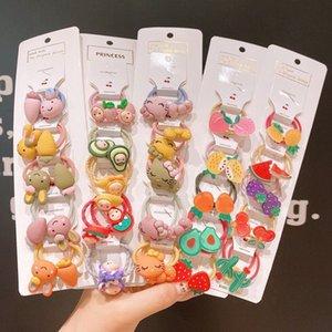 10pcs / Set Titular bonito da fruta Rabo Bandas Headwear dos desenhos animados elástico de cabelo meninas Scrunchies filhos Cabelo Acessórios Baby Animals