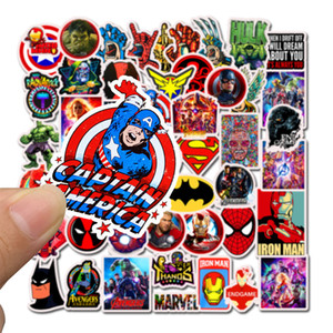 50Pcs / Lot Marvel Anime stickers pour ordinateur portable Jouet Skateboard drôle Décor bagages Decal Iron Man Spiderman Stickers pour les enfants autocollant de voiture