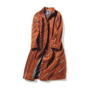 Listrado New Coat 2020 Coat para casacos de inverno da mulher feminina tonfur Fur Mulheres de pele real de 100% casacos de lã HF579 Mouton