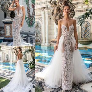 2020 Abiti da sposa con sirena Berta con treno rimovibile Sweetheart Senza maniche Made in pizzo Appliques Backless Beach Bridal Gowns