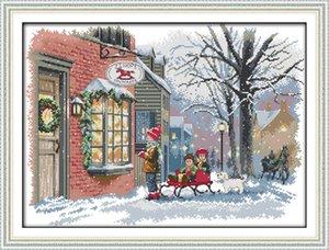 Noël souhaits neige Scenic peinture à la maison peinture, ensembles de couture couture broderie à la main à la main compté impression sur toile DMC 14CT / 11CT