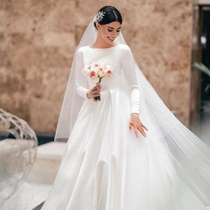 Luxury Satin Long Sleeves Wedding Dresses Customized A-line Floor Length Dress Bridal Gowns Party Formal Plus Size Robe De Mariee 2020