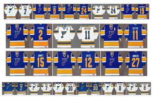 Vintage St. Louis Blues Jersey 24 BERNIE FEDERKO 19 Vara Brind'amour 7 GARRY UNGER 8 BARCLAY PLAGER 30 Jacques Plante Azul Blanco CCM Hockey