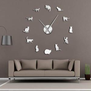 Gattini Silhouette Gatti parete di arte DIY Giant Wall Clock Gatti allegri grosso ago della ragazza del gattino Sala Grande vigilanza della parete Feline Fan regalo Y200110