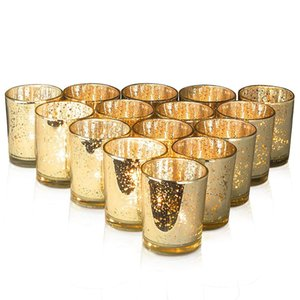 12 pcs ins living room Candle stick decoration creative spot gold decorative glass wedding Candlestick cup candle jar making