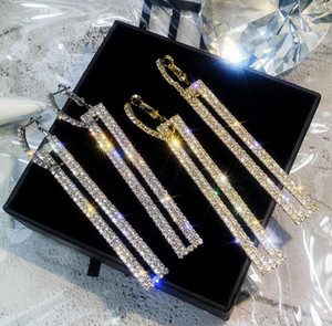 orecchini da donna di lusso firmati gioielli con orecchini pendenti in cristallo di stile geometrico brillante per la festa 9.2 * 1.1CM