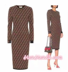 2019 automne et hiver nouvelles perles courbes lettres jacquard dames robe longue jupe robe de tempérament fabricants de bonne qualité spot2070