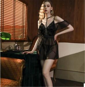 Womens Designer dentelle sexy pyjamas sexy Camisole Costumes Vêtements femmes taille haute Voir Par Sexy Sous-vêtements