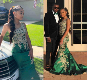 New Green Prom Dresses sexy Smeraldo una spalla oro pizzo Appliques in rilievo Cryatal Mermaid abito da sera africana di usura a buon mercato da partito degli abiti