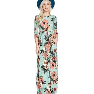 Fashion Women Long Sleeve Dress Vintage Flower Print Party Club Bohemia V-neck Casual Maxi Dress Summer Women Dresses with Pocket