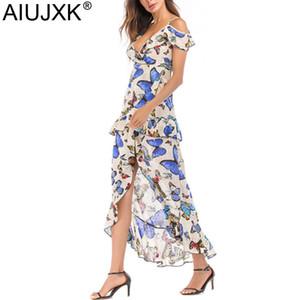 AIUJXK Nuove donne Deep V Neck Spaghetti Strap Summer Dress Ruffles Butterfly Floral Print Irregular Beach Casual Maxi Dresses