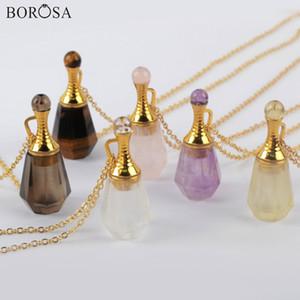 Borosa 3 piezas de 26 pulgadas Botella Gild amatistas piedra natural collar de perfume esencial difusor de aceites Rose Cuarzos Collar WX1223-N