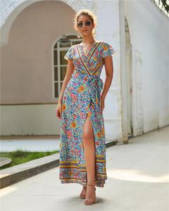 Sasher V cuello asimétrico Flora vestidos impresos vacaciones Sexy para mujer vestido dividido Moda Casual Vestidos de verano