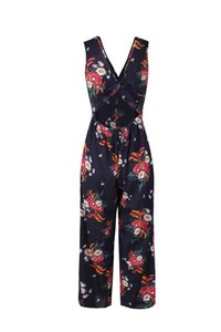أزياء الموضة V Neck مجوفة ظهر Sashes Ladies Jump Suit New Designer Flora Print Breif Apparel