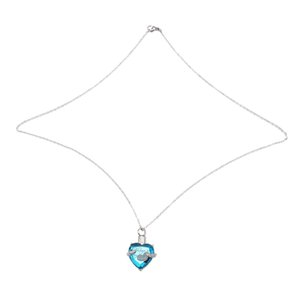 Heart Cremation Urn Necklace for Ashes Urn Jewelry Memorial Pendant- Always in My Heart BLUE