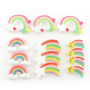 Figurines Miniatures 30pc pas cher Mix 23-32mm style coloré arc-en-résine Glitter dos plat Cabochon résine Étoile Rainbow Phone DIY