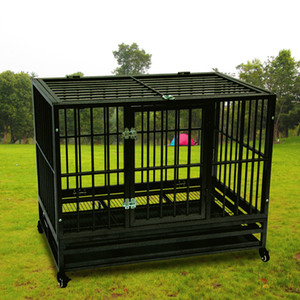 Dog Heavy Duty Cage Crate Kennel métal Pet Playpen Portable avec plateau Couleur Black Dog Porte