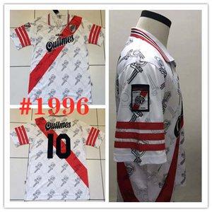 1996 Leito do rio Retro home PRATTO Camisa de Futebol 96 97 River Plate branco QUINTERO G.MARTINEZ Versão clássica do vintage Personalizado Camisa footba