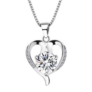 Silver Necklaces For Women Wedding Accessories Imitation 925 Sterling Silver Imitation Diamond Necklace Plated Silver pretty Heart Necklace
