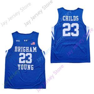 2020 Nouveaux NCAA BYU Cougars Stats Maillots 23 Childs Basketball Jersey Taille du collège Bleu Hommes Jeunes Adultes Tous Cousu