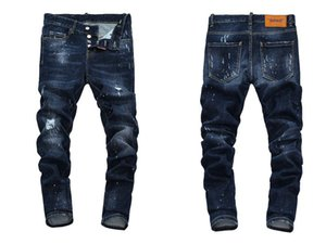 Nova 2019 homens rasgados denim rasgando jeans azul da marinha de algodão moda apertada primavera outono dos homens calças a1453 PHILIPP PLEIN DSQUARED2 DSQ2 D2 Versace