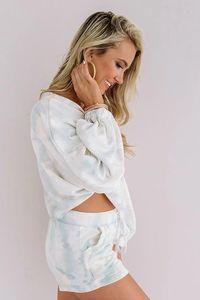 DHL para pijamas Tiedye Para las mujeres pijama Korte Establece Met Ronde Hals En anudado del tinte del lazo Camisa extranjera gris imán en stock newclipper