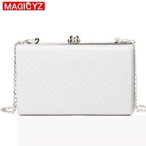 Magicyz 2018 White Ladies Frame Bag Black Women Leather Clutches Purse Gold Silver Black Diamond Lattice Handbag On Chain J190630