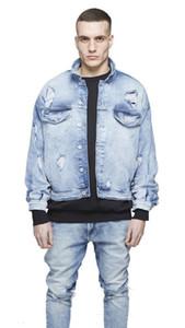 Jacket High Street Blue Jeans Jacket Coats Hombres vestuário Oversize Mens rasgado
