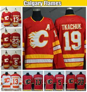 2020 Calgary Flames Hokeyi Formalar 19 Matta Tkachuk 13 Johnny Gaudreau 5 Mark Giordano 23 Sean Monahan Dikişli Gömlek