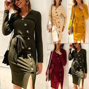 Vestito da autunno collo di modo V maglia maglione donne Split Slim 2019 Inverno a manica lunga elegante delle signore delle donne vestiti lunghi casuali