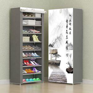8 Camada 10 Camada Gabinete Combinação de sapatos simples pano de armazenamento Shoes cremalheira Folding Dust-proof Shoe Shelf DIY Furniture