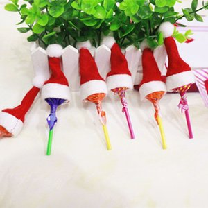10pcs Christmas Mini Hat Candy Bottle Cover Santa Claus Caps Wrap Party Xmas Tree Decor