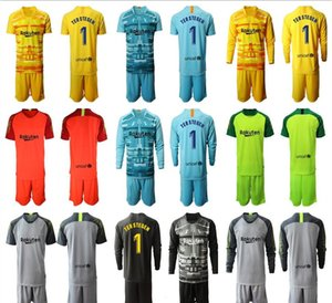 19 20 manches longues adultes Gardien de but Bleu Jaune Maillots # 1 Ter Stegen Football Kit Séries Marc-Andre Ter Stegen 2020 Football Gardien de but Uniforme