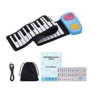 Silicon Piano 49-Key Silicon elettronico della tastiera di piano roll-up Piano Altoparlante incorporato con l'autoadesivo del fumetto per i bambini Bambini