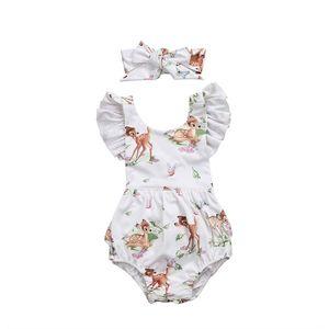 Criança infantil bebê Romper Bonito fulvo animal impresso Unisex manga Curta tops Menino Meninas Bodysuit Roupas de Bebê