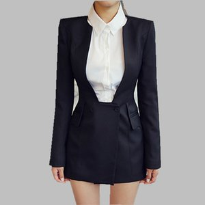 HAMALIEL New 2019 Spring Office Blazer da donna Cappotto Nero a maniche lunghe Slim scollo a V Foarmal Work All-Match Blazer