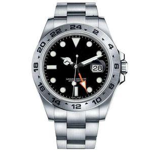2 cores best-seller 42 milímetros watch-- masculina de luxo Explorer II 216570 aço inoxidável botão de data mecânica relógio dos homens impermeáveis automática