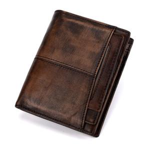 BAOERSEN Portefeuilles Hommes cuir de vache Vintage Portefeuille hommes Homme carte de crédit Titulaire argent bourse