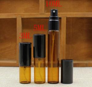 زجاجة 3ML 5ML 10ML البسيطة العنبر زجاج الرذاذ البخاخة زجاجة عطر فارغة عطر Tralve عينة قوارير زجاجة
