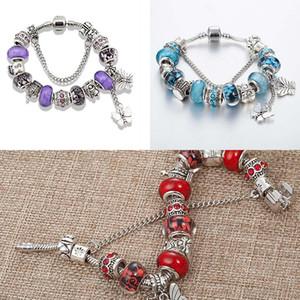 2020 Vintage Charm Butterfly Tassel Beaded Bracelet for Pandora Jewelry with Original Box Crown Ladies Banquet Elegant Bracelet