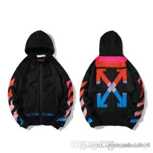 Luxury mens knitted zipper jackets street trend high quality arrow gradient embroidery zipper sweater designer couple sweaters size M-2XL