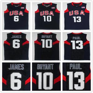 2008 US Dream Team LeBron 6 James Jersey 10 KB Chris 13 Paul Navy Blue White Home Away Basketball Jerseys Top Quality