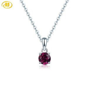 Hutang Rhodolite Garnet 925 gümüş Kolye Yuvarlak 5mm hakiki taşlar katı 925 ayar Gümüş zincir güzel basit zarif Takı