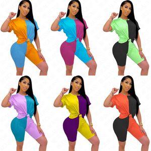 Piece Summer Women D63005 Color Tracksuit Block Suit 2020 Patchwork Top+Shorts+Mask Short Sleeve S-XXL Three Sportswear Tight Contrast Vfnn