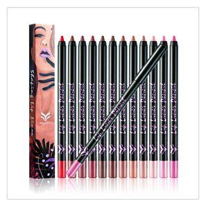HUAMIANLI Lipliner 12 цветов карандаш для губ ручка макияж набор матовая гладкая водонепроницаемый ню длительный губ придерживайтесь карандаш для губ косметика