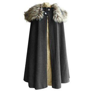 Litthing Medieval Men's Winter Cape Coat Vintage Coat Gothic Style Fur Collar Cape Cloak Jon Snow Costume
